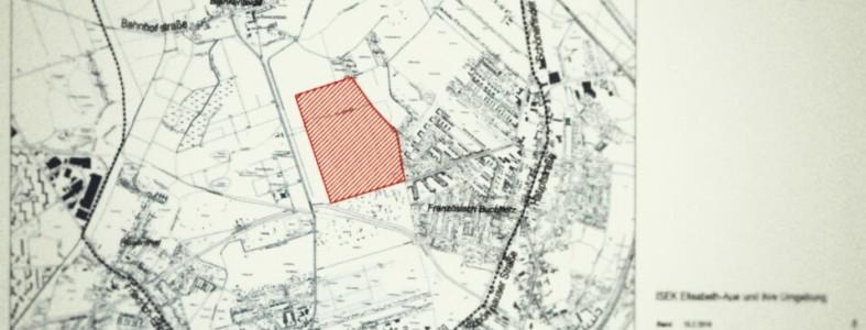 Karte mit dem eingezeichneten Untersuchungs- und Planungsgebiet Elisabeth-Aue