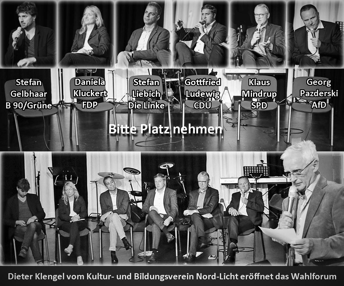 Das Line-Up des Wahlforum in französisch Buchholz zur Bundestagswahl 2017.